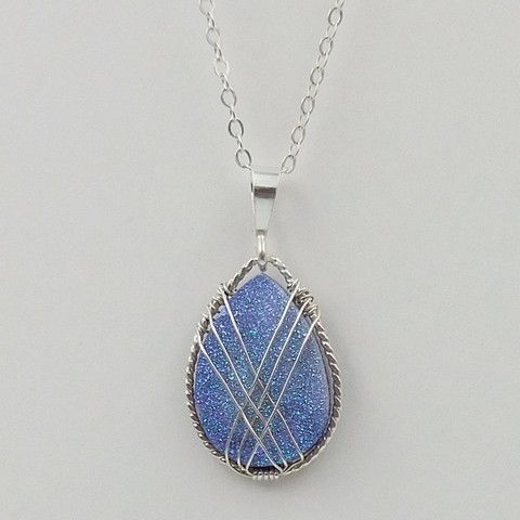 Click to view detail for DKC-1051 Necklace, blue druzy $140