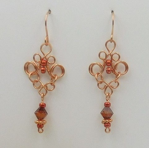 Click to view detail for DKC-1056 Earrings, copper, amber crystals $60