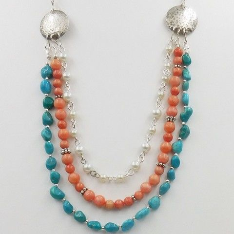 Click to view detail for DKC-1058 Necklace, Multi-Strand Turquoise, Coral, FW Pearls $180