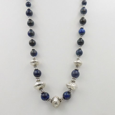 Click to view detail for DKC-1059 Necklace, Handmade Sterling Beads, Lapis $180
