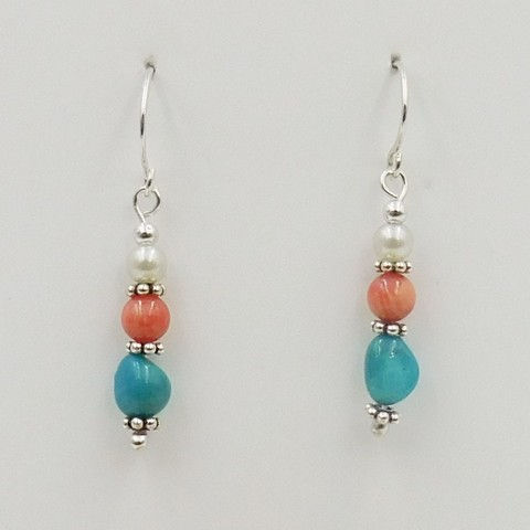 Click to view detail for DKC-1063 Earrings, Turquoise, Coral , FW Pearls $60