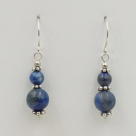 Click to view detail for DKC-1064 Earrings, Sterling Silver and Lapis $60