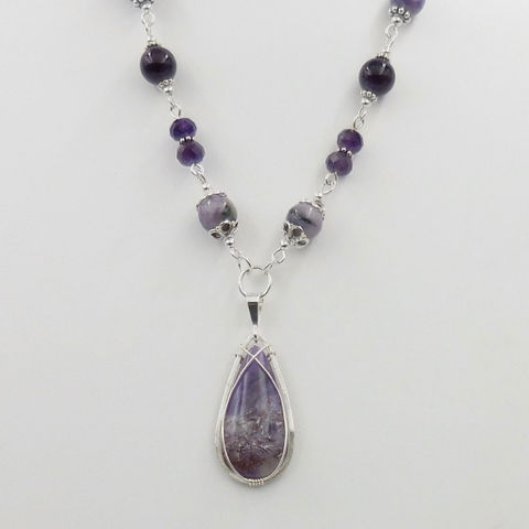 Click to view detail for DKC-1072 Pendant Lilac Stone on Beaded Necklace $250