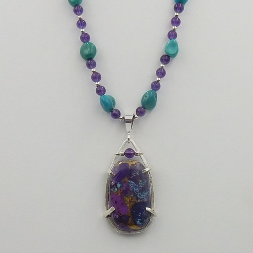 Click to view detail for DKC-1076 Necklace, TQ, Copper, Amethyst $225