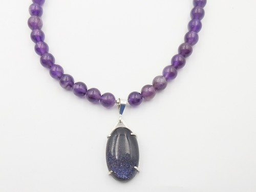 Click to view detail for DKC-1080 Necklace Amethyst beads and Goldstone pendant $225