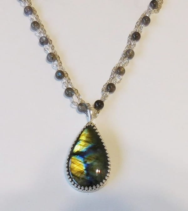 Click to view detail for DKC-1088 Necklace with Labradorite Pendant $250