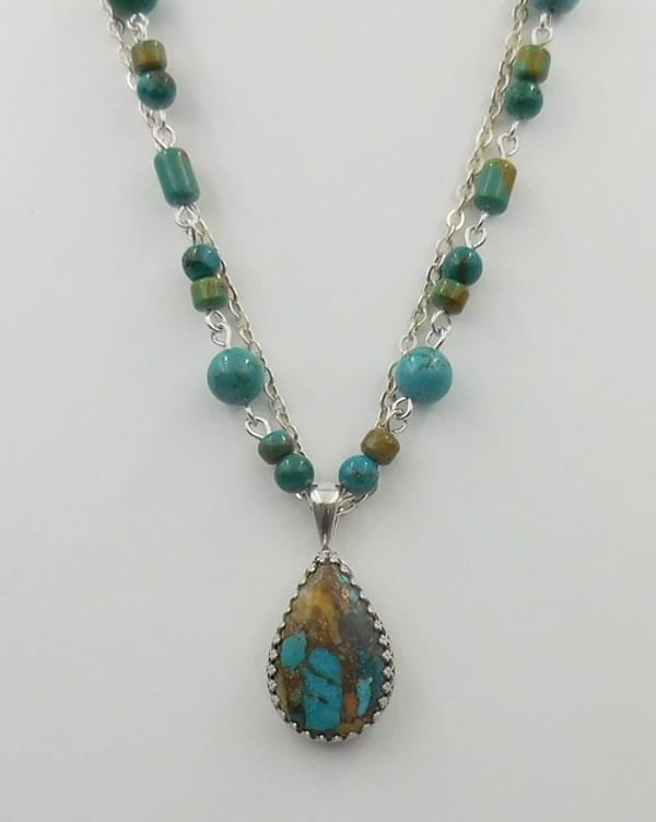 Click to view detail for DKC-1091 Necklace Royston turquoise and silver chain with Royston TQ Pendant $240