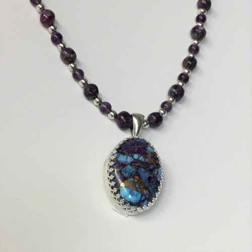 Click to view detail for DKC-1096 Necklace Kingman Purple Dahlia  TQ Pendant $180