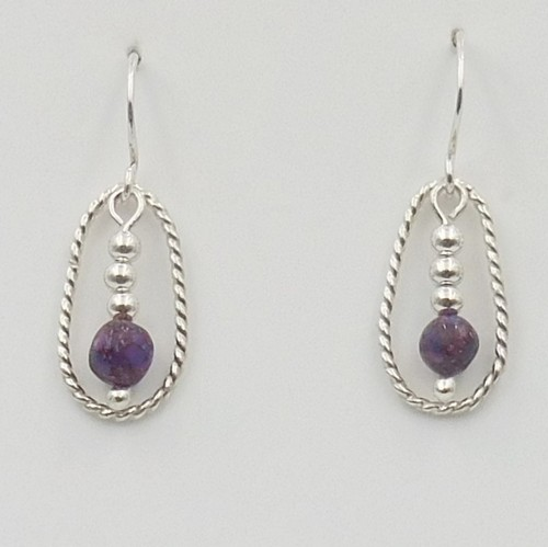 Click to view detail for DKC-1100 Earrings  Earrings Kingman Purple Dahlia $60