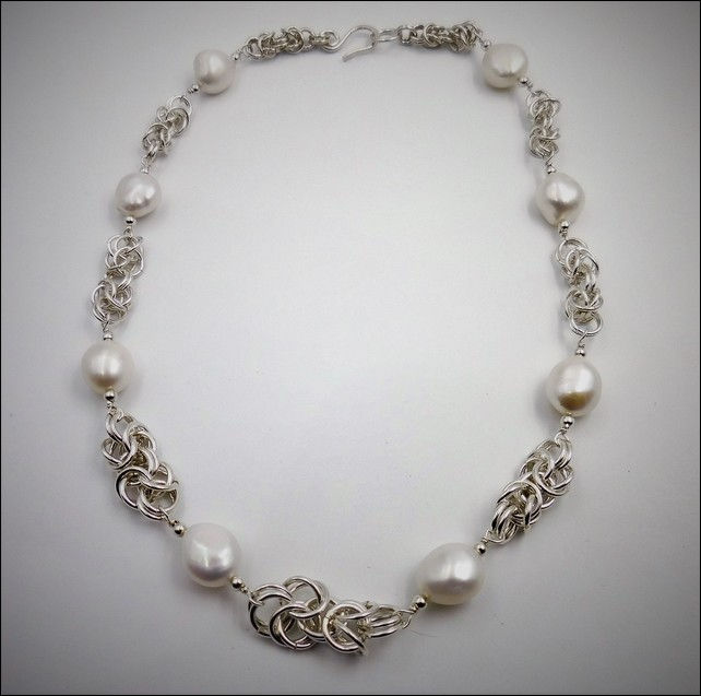Click to view detail for DKC-751 Chain Necklace with Baroque Pearls
