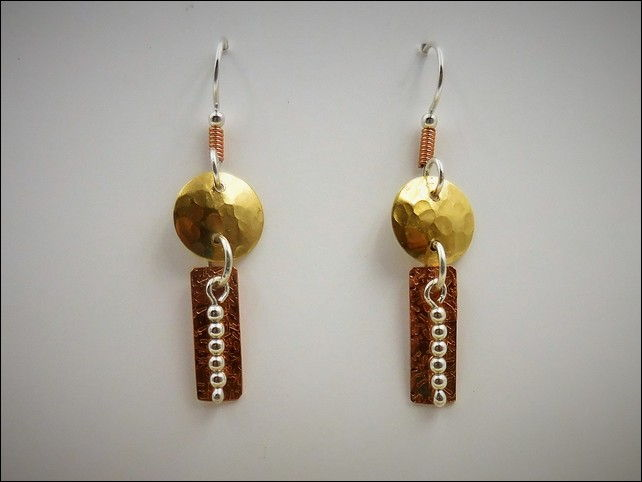 Click to view detail for DKC-759 Earrings, Brass, Copper and Silver