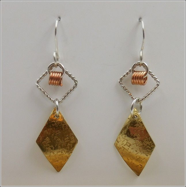 DKC-782 Earrings Brass & Silver Diamond Shapes at Hunter Wolff Gallery