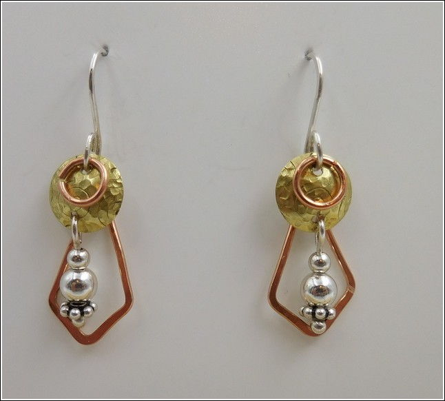 Click to view detail for DKC-783 Earrings Copper, Brass & Silver