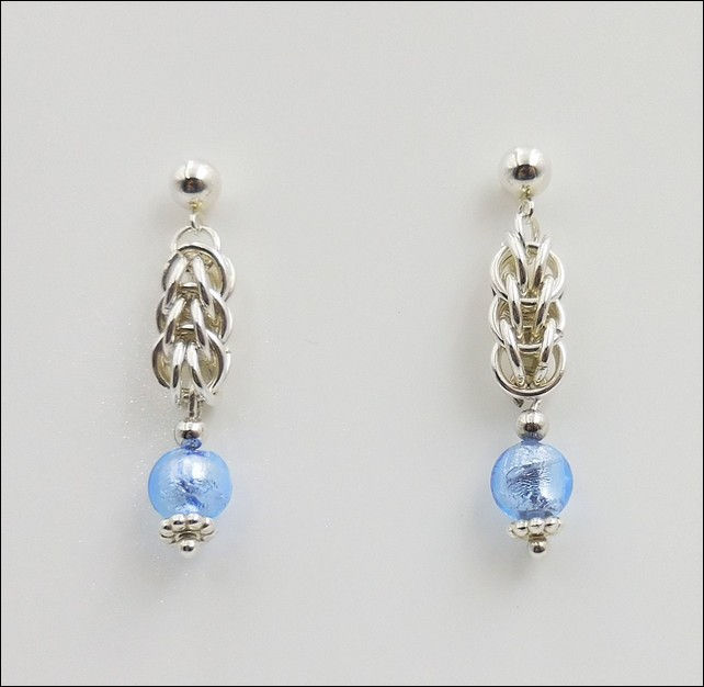 Click to view detail for DKC-801 Earrings Persian Weave, TQ Murano Glass