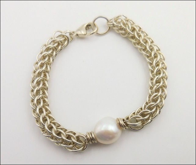 Click to view detail for DKC-810 Bracelet Persian Weave Baroque Pearl