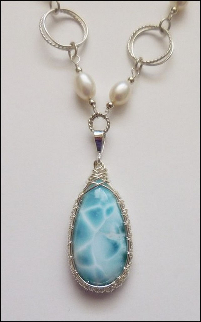 Click to view detail for DKC-814 Pendant Larimar with Freshwater Pearl Chai