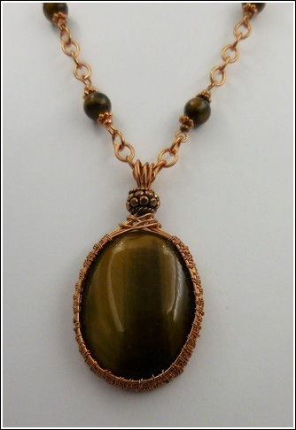 Click to view detail for DKC-834 Necklace Copper & Tiger Eye