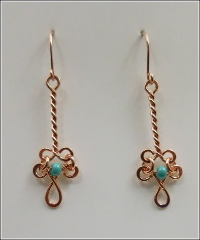 Click to view detail for DKC-837 Earrings, Copper & TQ