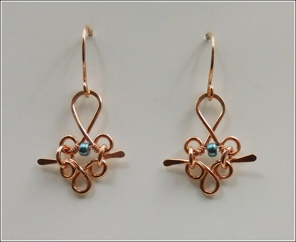 Click to view detail for DKC-838 Earrings, Copper Filigree & Bead