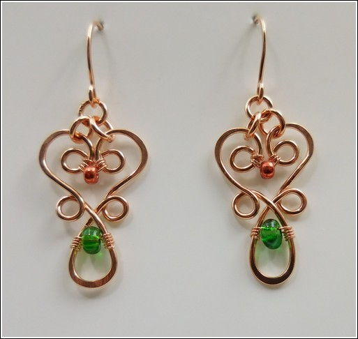 DKC-839 Earrings, Copper Filigree & Orange, Green  at Hunter Wolff Gallery