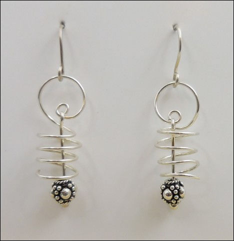 Click to view detail for DKC-857 Earrings, Springs with Bali Bead