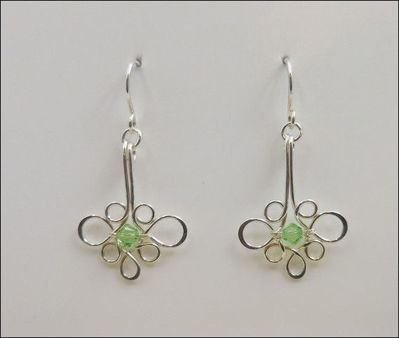 Click to view detail for DKC-859 Earrings Argentium Filigree Green Crystal