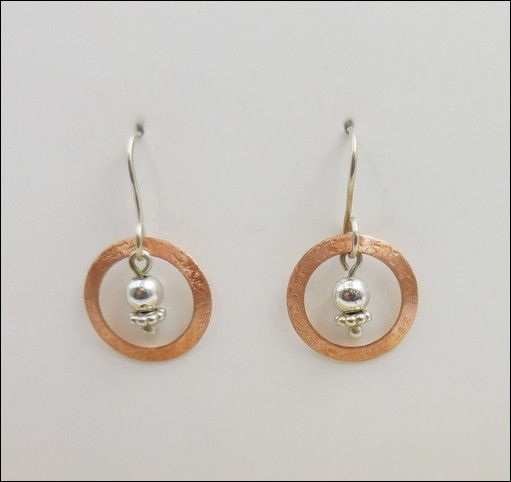 Click to view detail for DKC-866 earrings Copper Circles, Sterling Beads