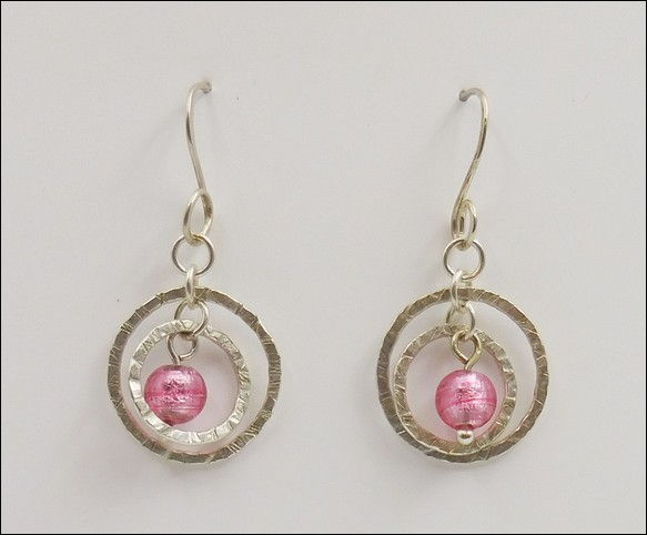 Click to view detail for DKC-878 Earrings Double Circles Pink Murano Glass