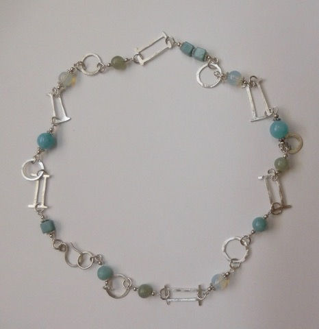 DKC-883 Necklace Aquamarine and S/S Chain at Hunter Wolff Gallery