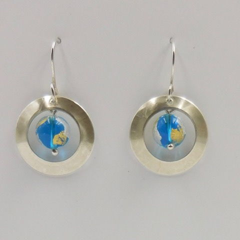 Click to view detail for DKC-885 Earrings, Circles, Murano Glass