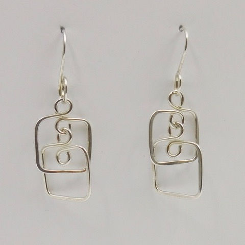 Click to view detail for DKC-887 Earrings, Double Squares