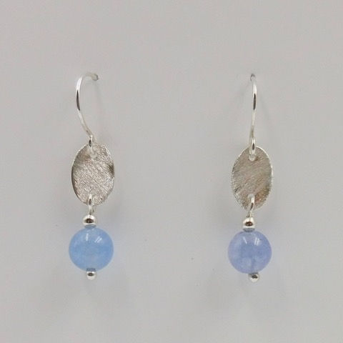 Click to view detail for DKC-895 Earrings, Ovals, Blue Aquamarine