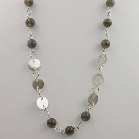 Click to view detail for DKC-897 Necklace, Circles, Labradorite 21