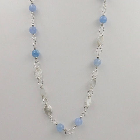 Click to view detail for DKC-898 Necklace, Ovals, Blue Aquamarine 23