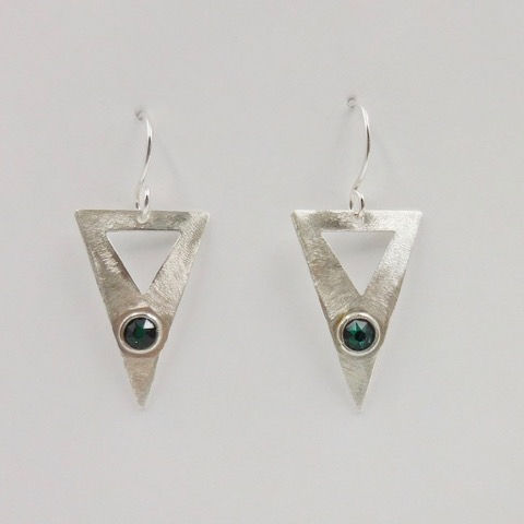 DKC-910 Earrings, Triangles, Green s/crystals at Hunter Wolff Gallery