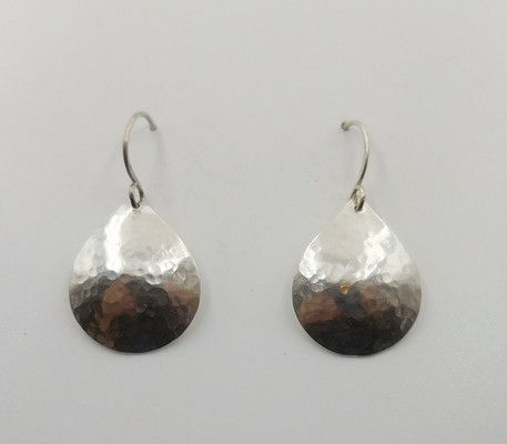 DKC-922 Earrings hammered teardrops at Hunter Wolff Gallery