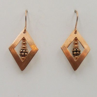 Click to view detail for DKC-930 Earrings copper diamond shapes
