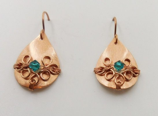 Click to view detail for DKC-931 Earrings Copper Teardrops