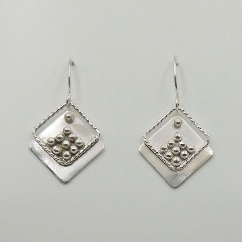 DKC-935 Earrings Square on Square at Hunter Wolff Gallery