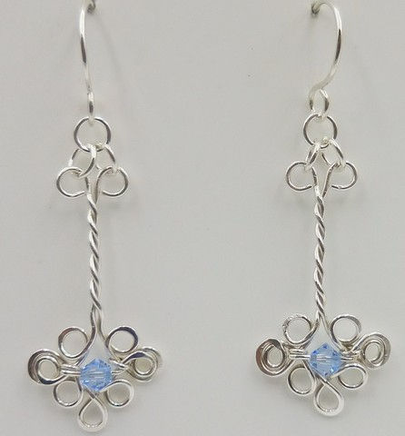 DKC-948 Earrings, twisted filigree, blue crystal at Hunter Wolff Gallery