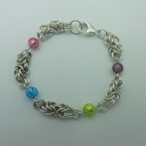 Click to view detail for DKC-953 Bracelet, Byzantine weave, Murano glass