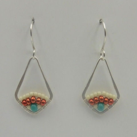 Click to view detail for DKC-957 Earrings, teardrop, copper, turquoise
