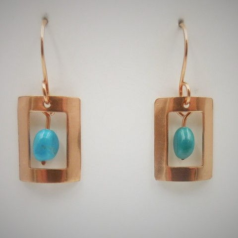 DKC-984 Earrings copper, oblong Kingman turquoise at Hunter Wolff Gallery