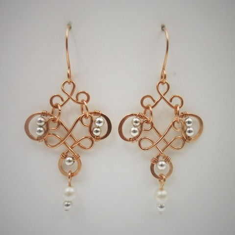 Click to view detail for DKC-986 Earrings copper silver beads/pearls