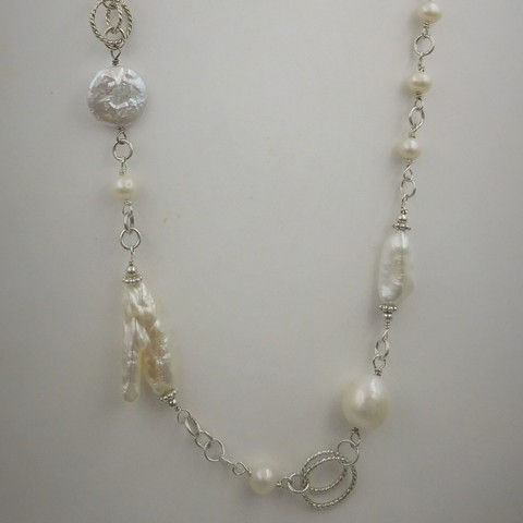 Click to view detail for DKC-989 Necklace, assorted fw pearls