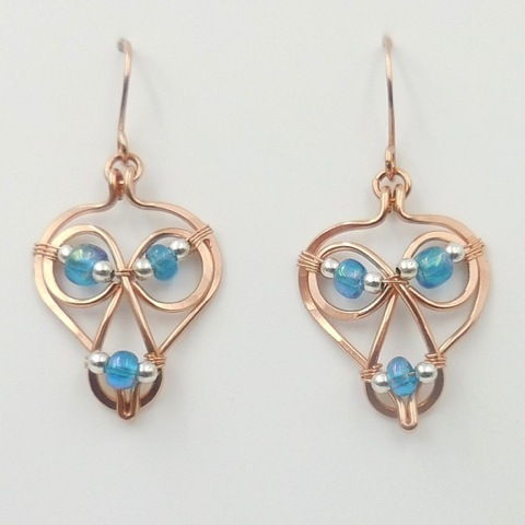 Click to view detail for DKC-992 Earrings, copper blue/SS Beads