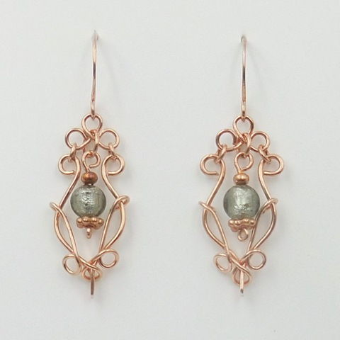 Click to view detail for DKC-993 Earrings, copper filigree, grn/gray
