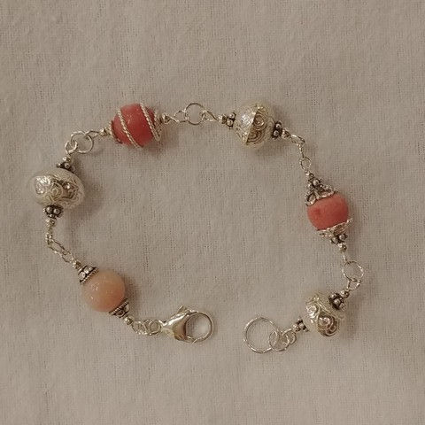 Click to view detail for DKC-916 Bracelet Argentium Silver & Pink