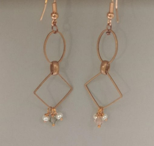 DM-015 Earrings, Copper Oval and Square at Hunter Wolff Gallery