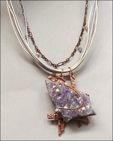 Click to view detail for DM-001 Necklace Drusy, Copper PMC